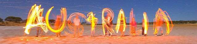Australia written in fire and sparklers on the beach | Australian English words slang vocabulary and phrases | Distant Journeys escorted tour holidays Australia and New Zealand