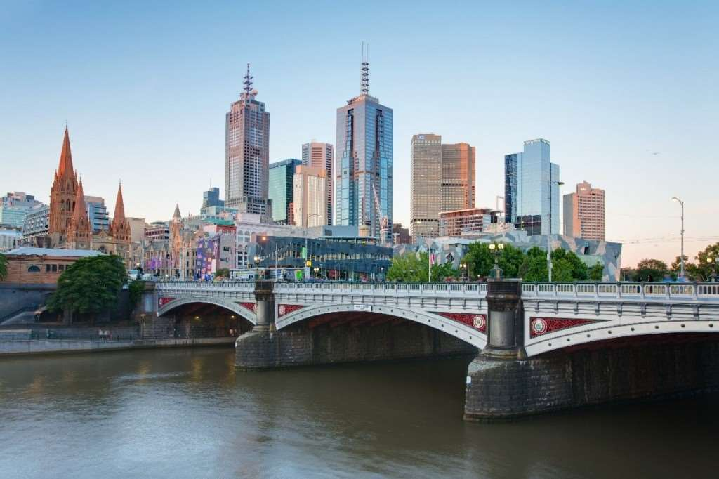 Melbourne city Victoria Princes Bridge skyline skyscrapers buildings street lights river | Weird and wonderful facts | Distant Journeys Australia and New Zealand guided escorted tours holidays flights hotels Adelaide Sydney Cairns Great Barrier Reef Alice Springs The Ghan