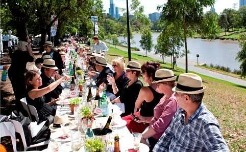 500m half mile long dining table 1500 diners Melbourne Food and Wine Festival 2015 Queensbridge Square Fitzroy Gardens events activities masterclasses workshops top chefs Australian international tasting classes Australia Distant Journeys escorted guided tours holidays accommodation flights Sydney Adelaide Cairns Alice Springs Ayers Rock Great Barrier Reef book online New Zealand