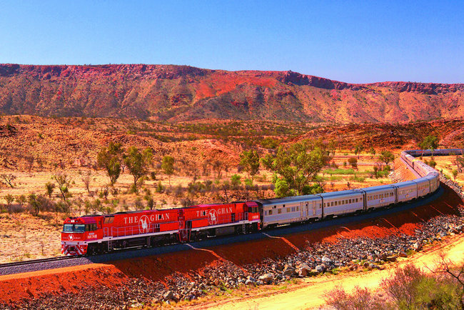 the ghan train with Australian landscape