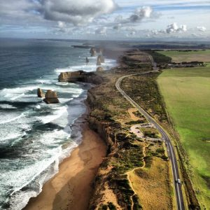 aerial view great ocean road australia