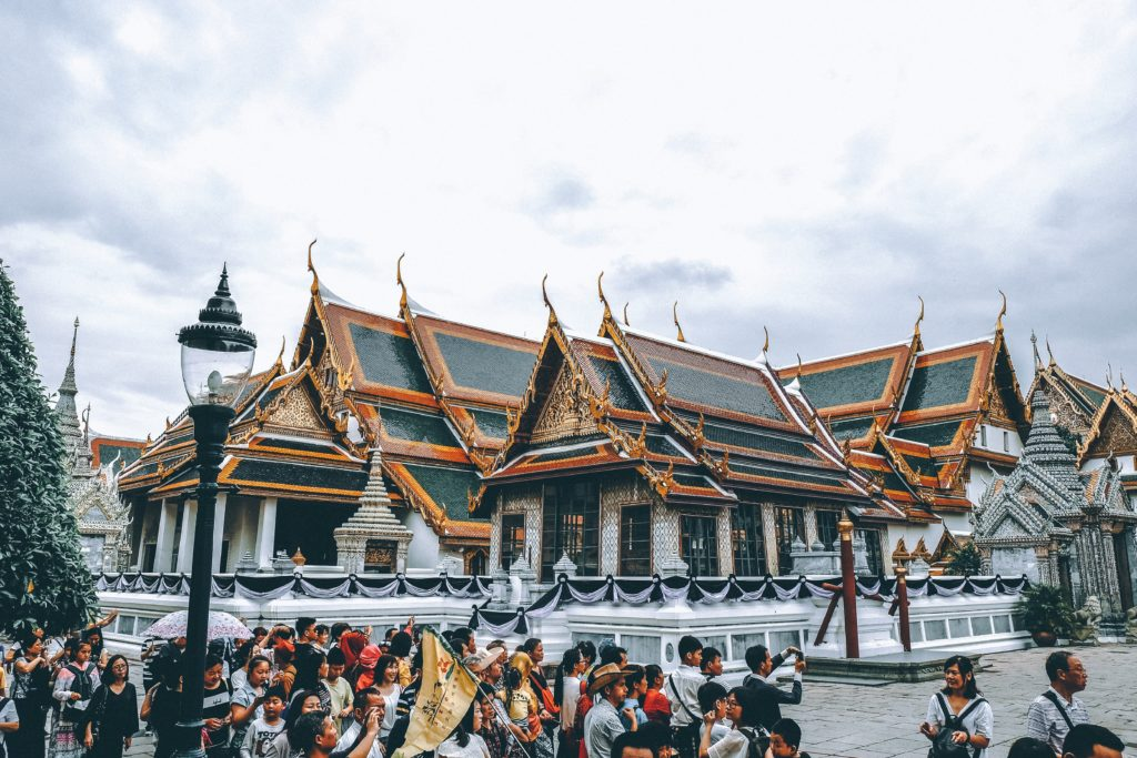 the grand palace Bangkok Thailand with tour group