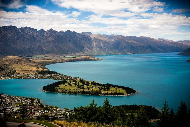 Aerial view Queenstown New Zealand