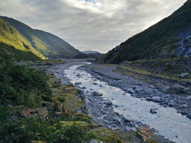 Waiho river Franz Josef Glacier landscape