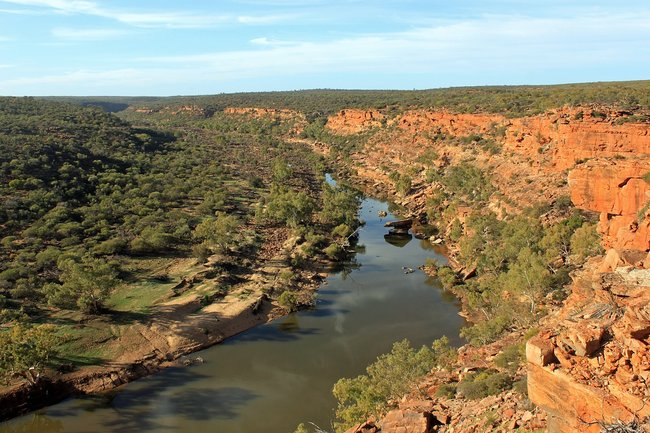 Australian outback river red rock
