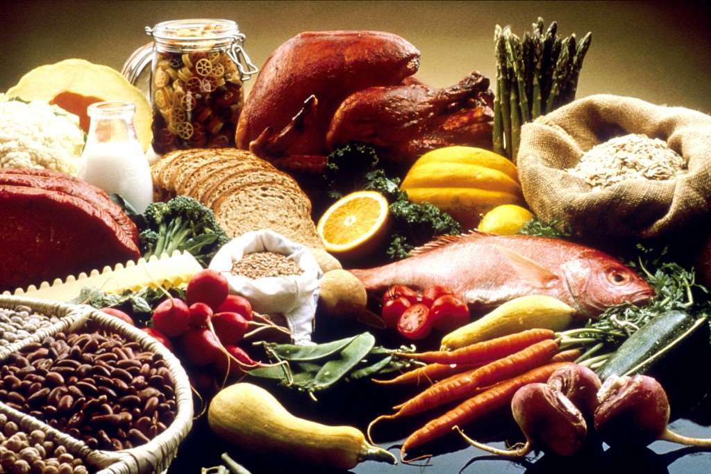 A colour picture of food including fish, carrots, bread, pasta and chicken.