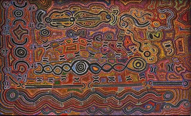 Indigenous Aboriginal art displayed at Tarnanthi Adelaide event on holidays Australia