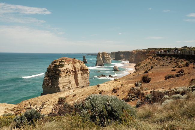 twelve apostles view blue skies