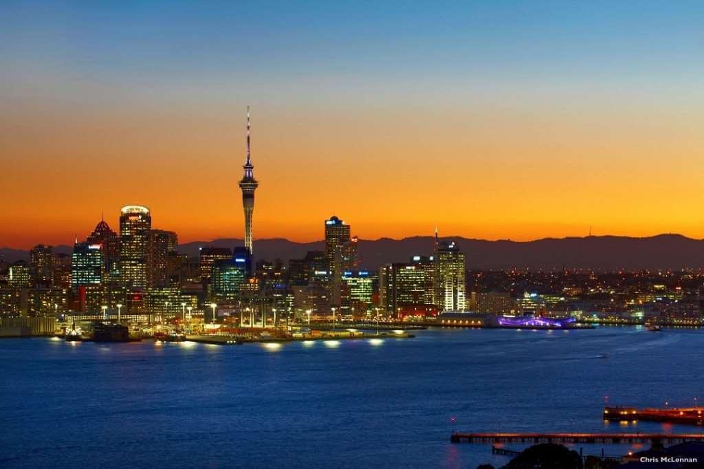 Auckland cityscape Sunset