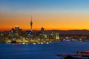 Auckland cityscape Sunset