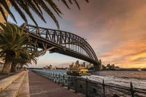 Sydney Harbour Bridge and Ferry at Dusk, Australia