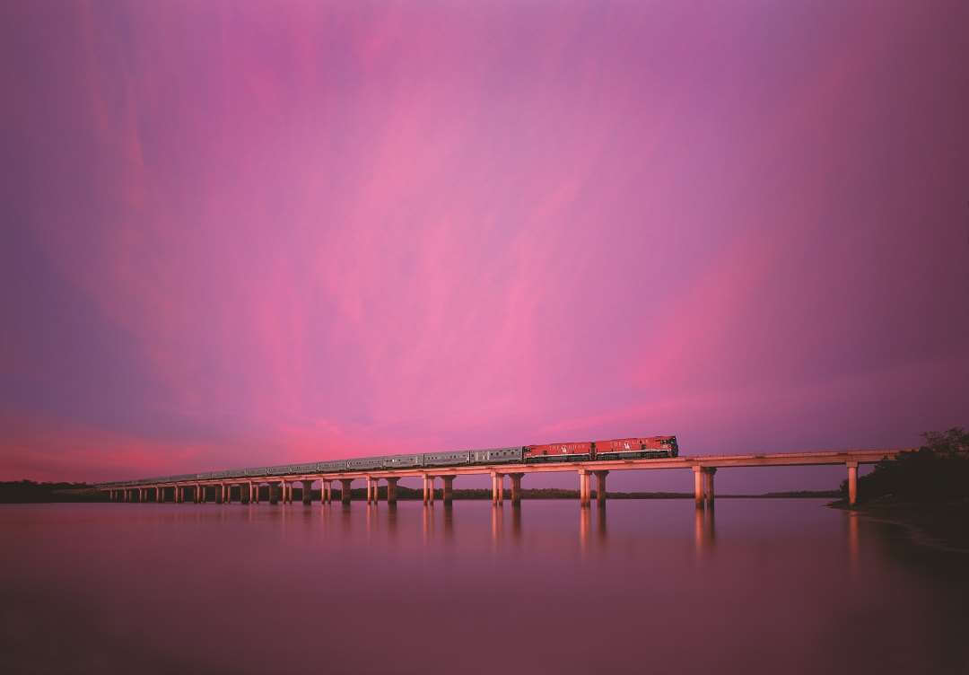 The Ghan on bridge