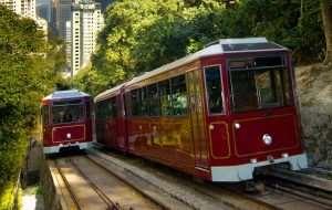 Tram going up peak