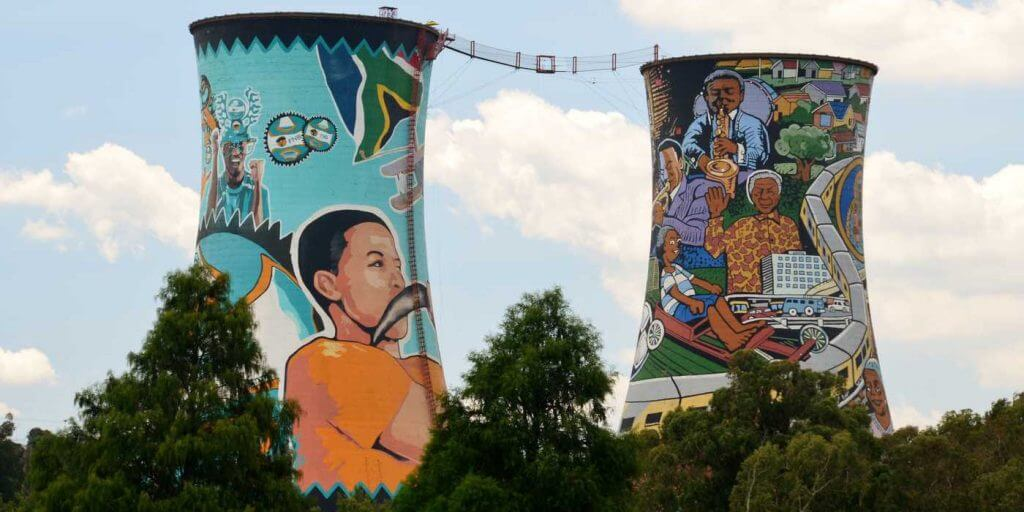 Soweto towers with grafiti