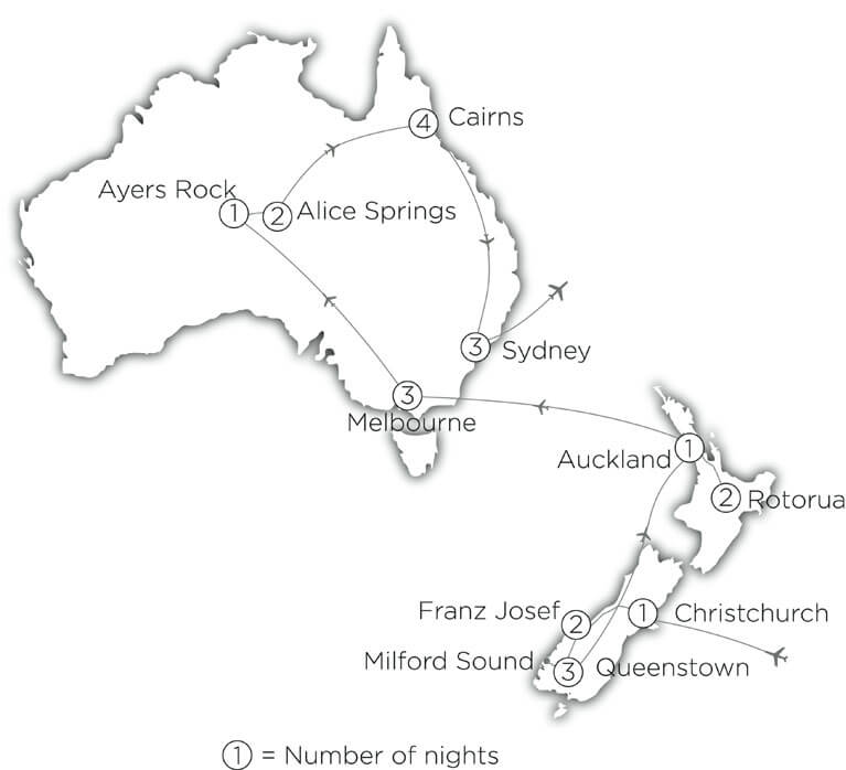 Australia New Zealand Holiday Guided Tour Of Both - Map of australia and new zeland