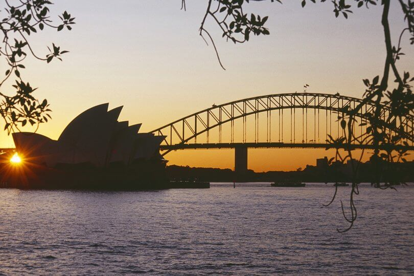 sydney bridge at dusk