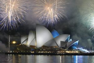Fireworks over Sydney Opera House