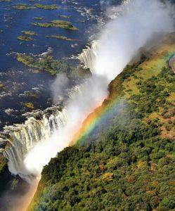 victoria falls rainbow aerial view