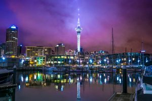Auckland sky tower at night New Zealand