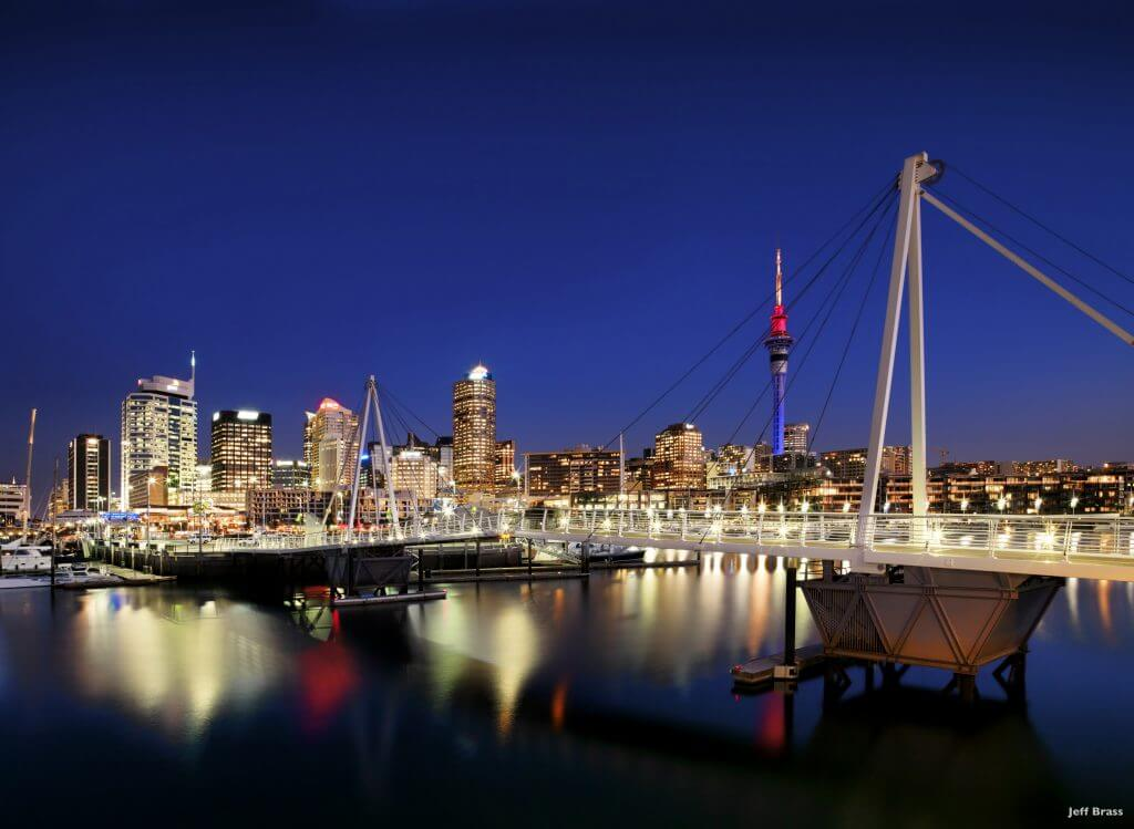 Waitemata harbour night sky line Auckland