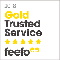 Gold Trusted Service Award Feefo 2018