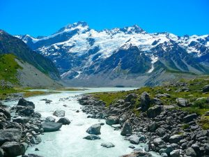 River with glacier Mount Cook New Zealand