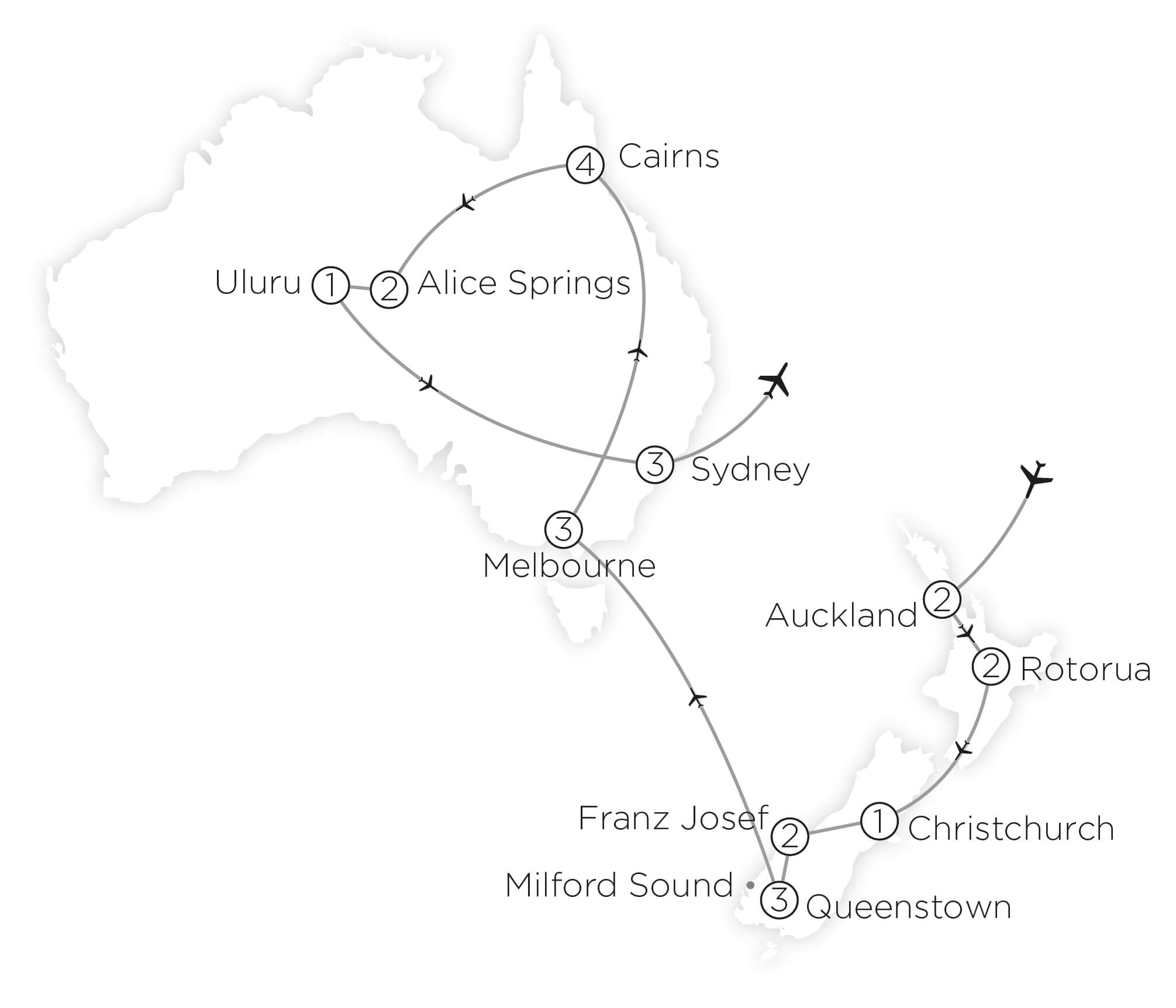 Highlights of Australia & New Zealand tour map 2019_20