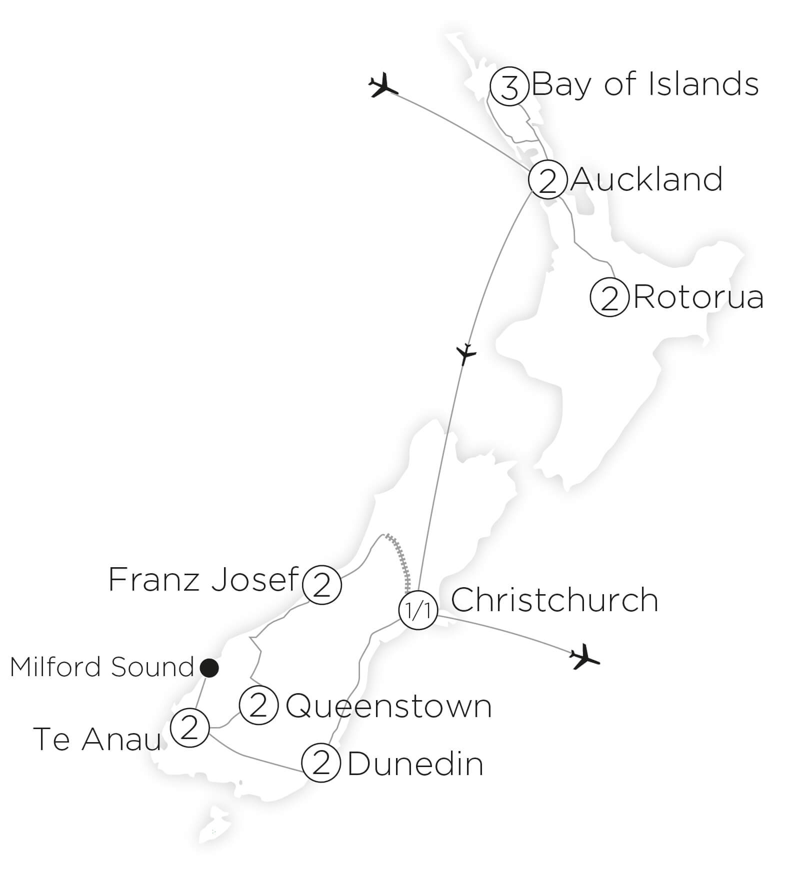 Magnificent New Zealand tour map 2019_20