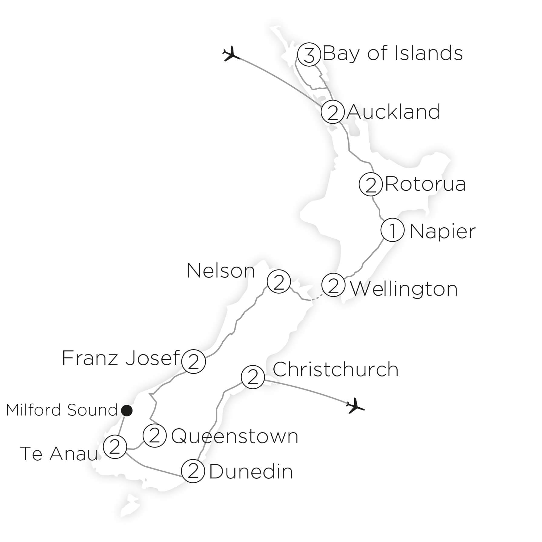 The Very Best of New Zealand tour map 2019_20