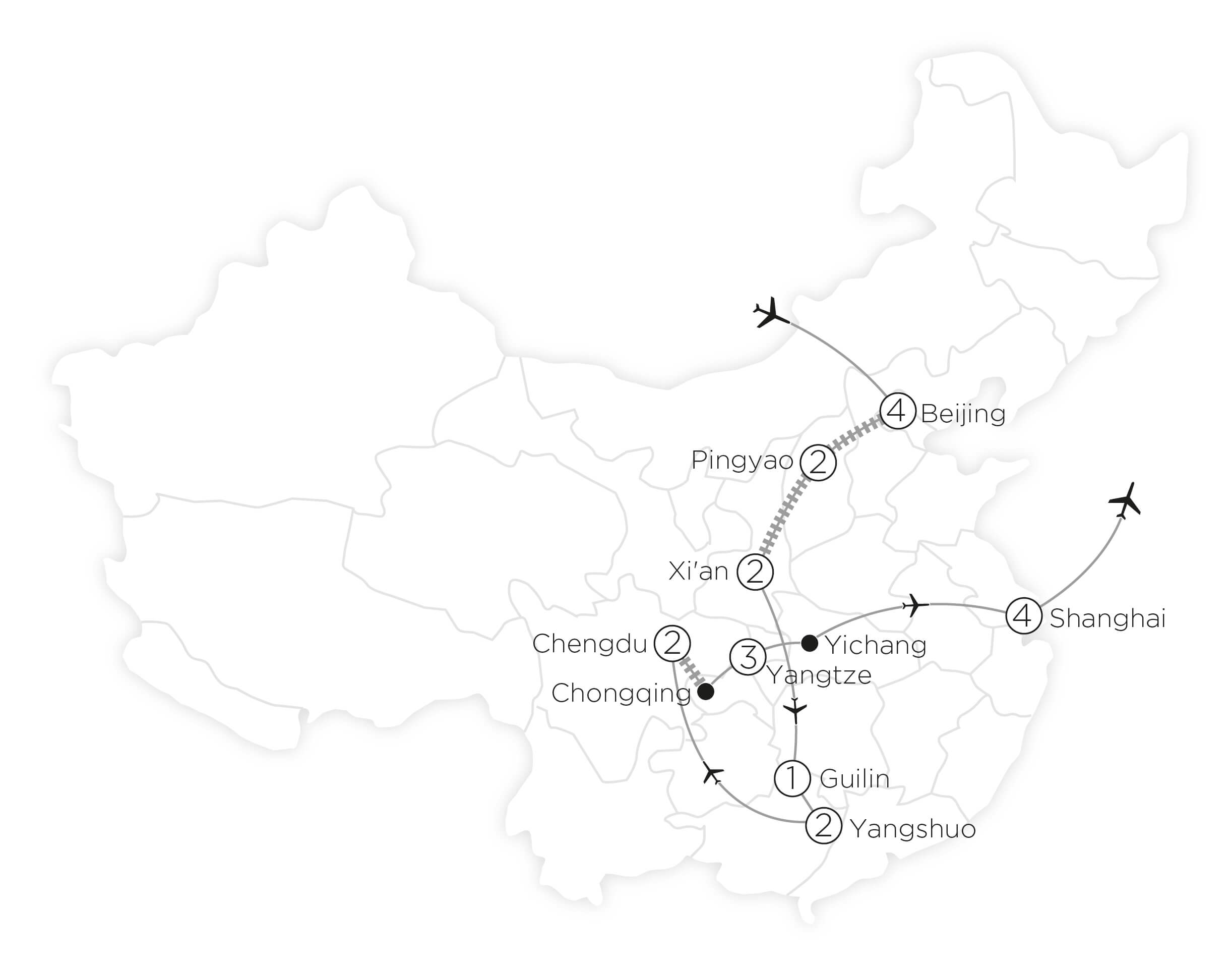 The Very Best of China tour map 2019_20