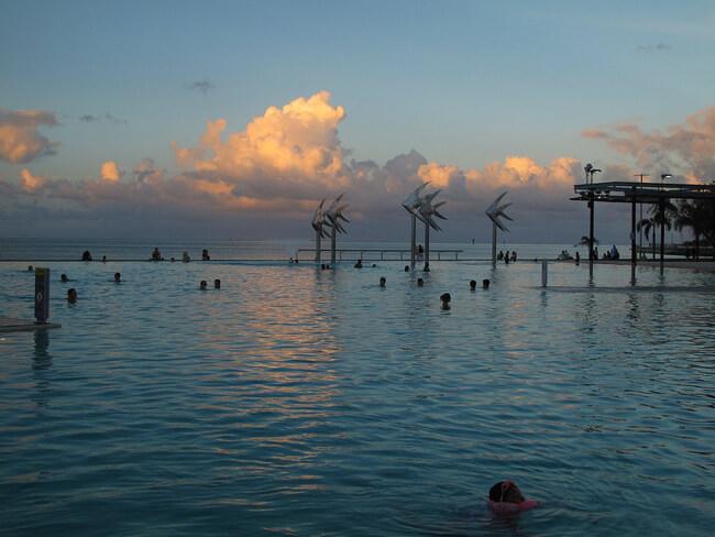 Cairns Esplanade Lagoon at sun set