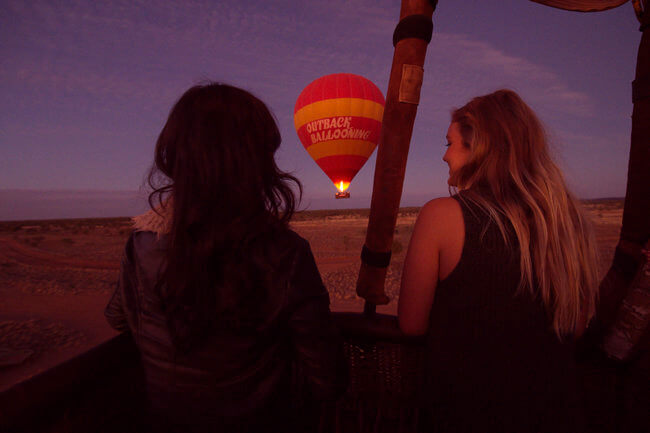Outback ballooning view from passengers night ride