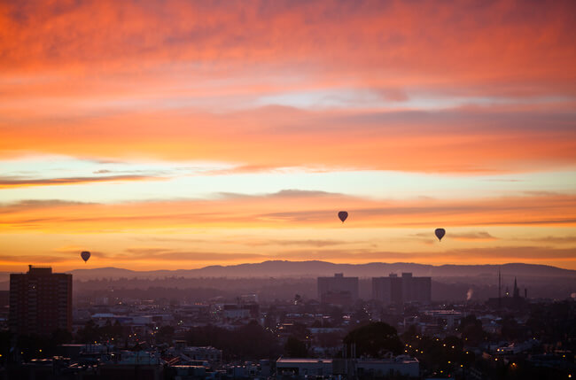 sunrise over Melbourne from hot air balloon