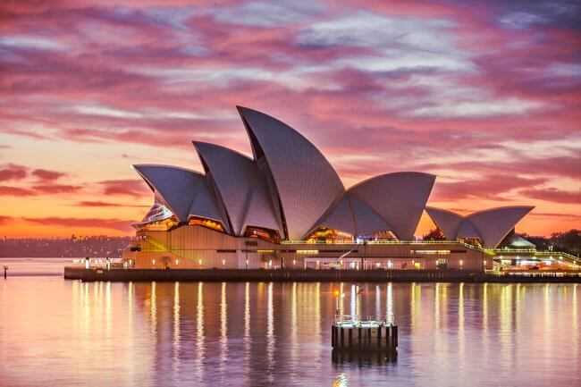Sydney opera house close up at sunset pink sky