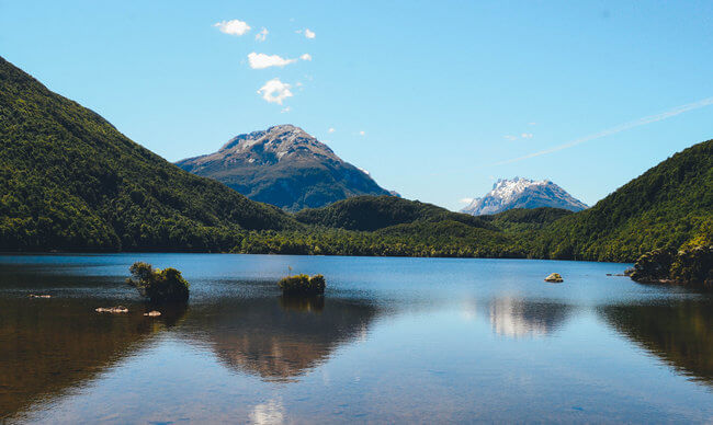 landscape view over lake Glenorchy New Zealand
