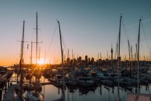 boats in Auckland harbour at sunset