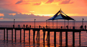 orange sunset over Noarlungha pier Adelaide