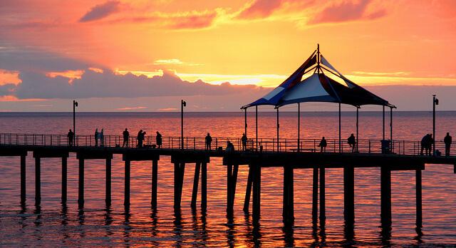 orange sunset over Noarlungha pier Adelaide
