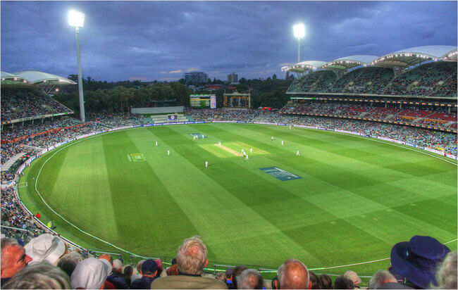 Adelaide oval view from stands cricket at night