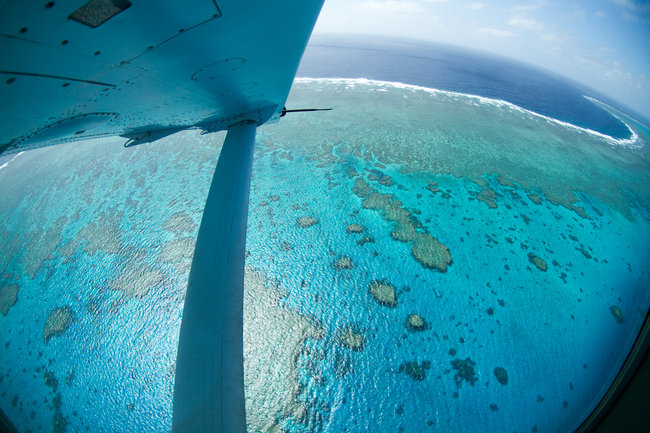 great barrier reef seen from plane above