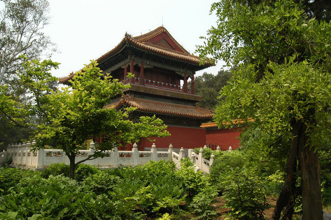 red building in trees Jingshan park Beijing