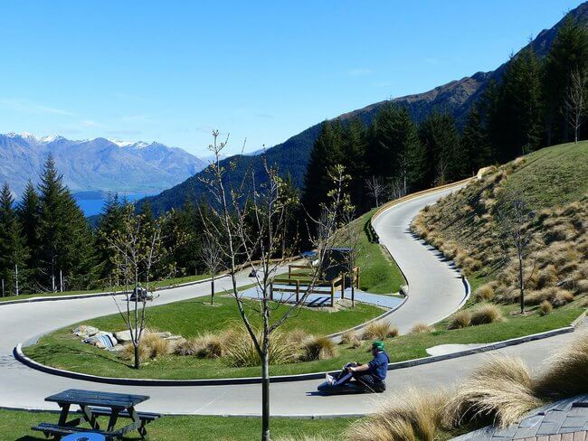 rider on Queenstown luge course New Zealand