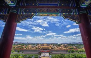 view looking over forbidden city blue sky clouds Beijing