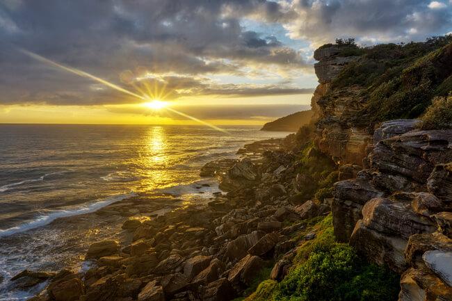 sunrise from rocks Shelley beach Manly Sydney Australia