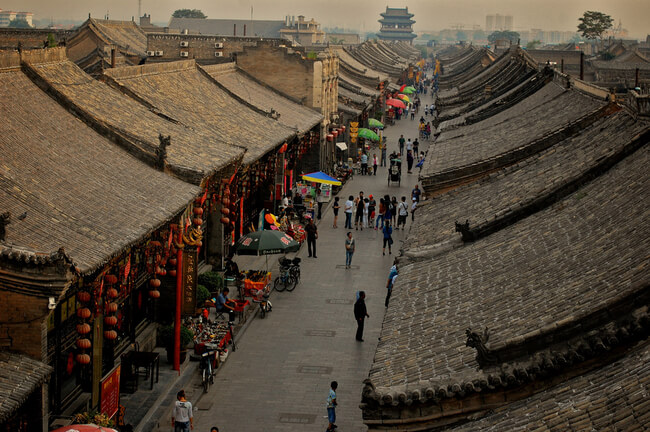 view of street from above Pingyao walled city china