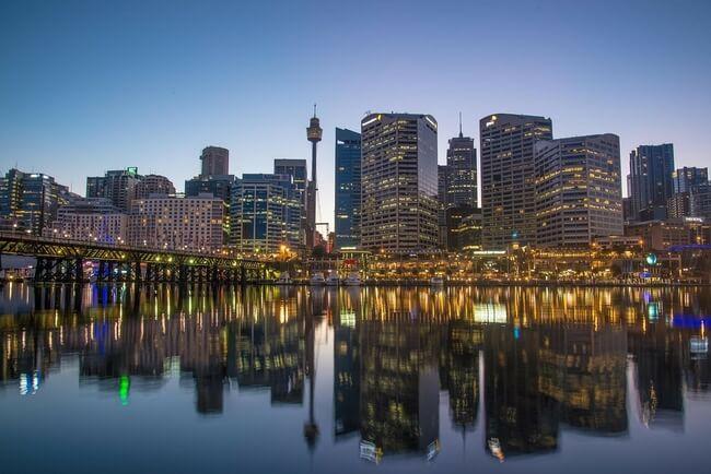Sydney night skyline from harbour with Sydney tower eye