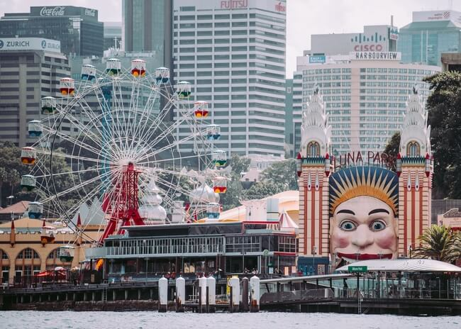 view of luna park from across sydney harbour