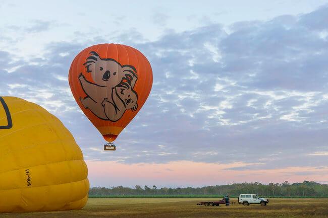 hot air balloon taking off Atherton Carins Australia