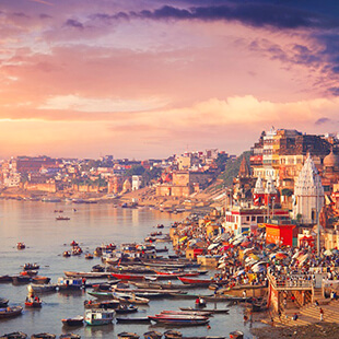 Holy town Varanasi and the river Ganges