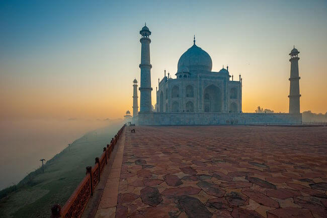 taj mahal agra india at sunset